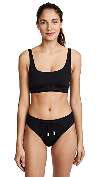 Les Girls, Les Boys Track Bikini Top In Black