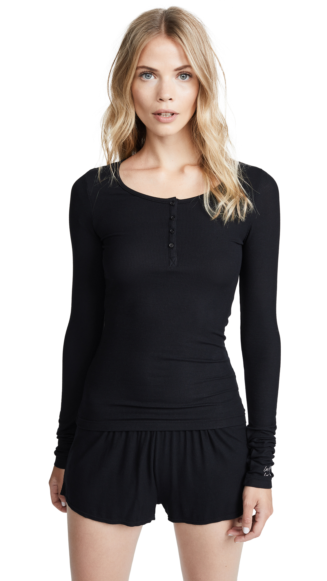 LES GIRLS LES BOYS Fine Rib Long Sleeve Henley in Black