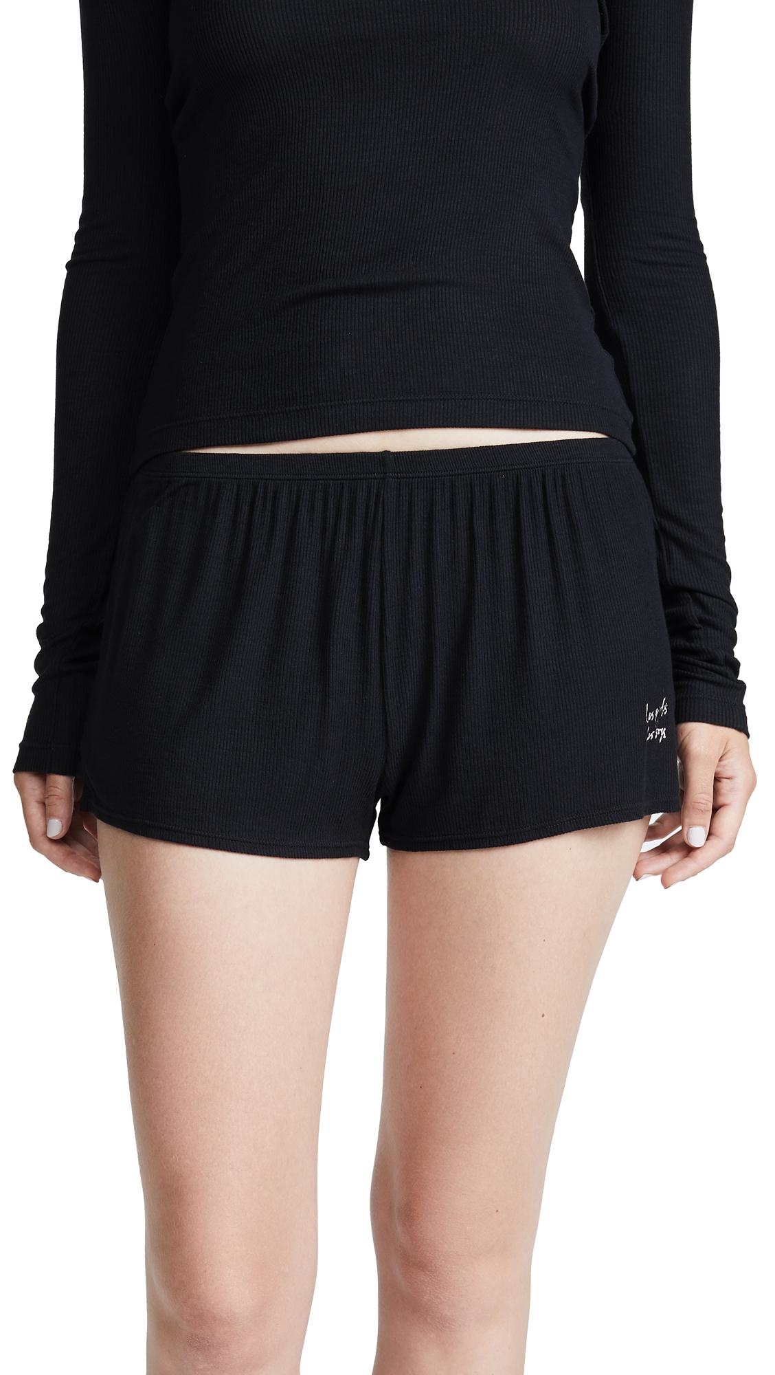 LES GIRLS LES BOYS Fine Rib Shorts in Black