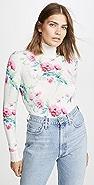 LES REVERIES Floral Print Distressed Cashmere Turtleneck
