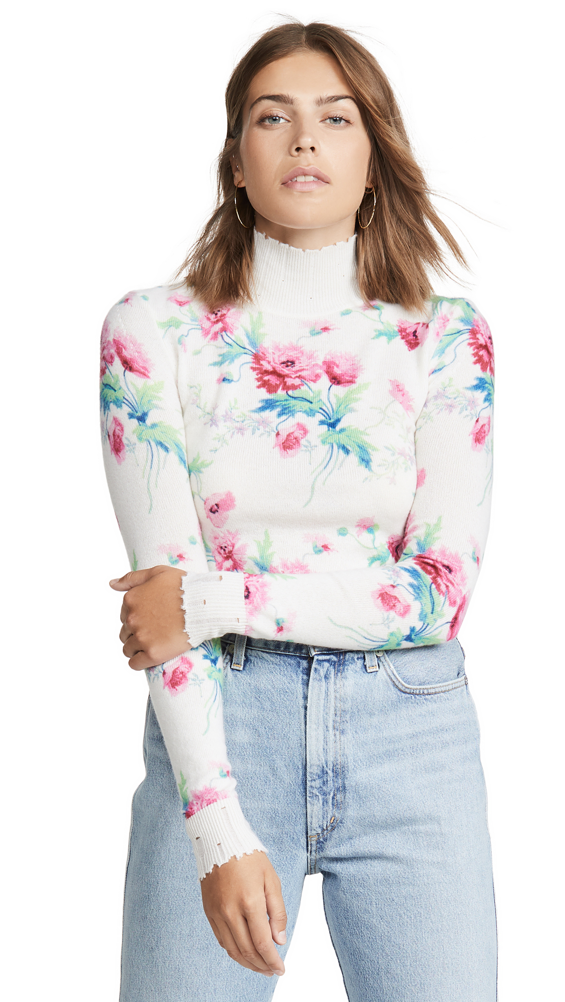 Buy LES REVERIES online - photo of LES REVERIES Floral Print Distressed Cashmere Turtleneck