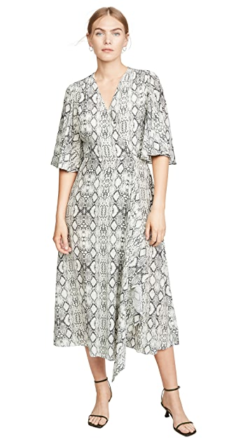 LES REVERIES Flutter Sleeve Long Wrap Dress