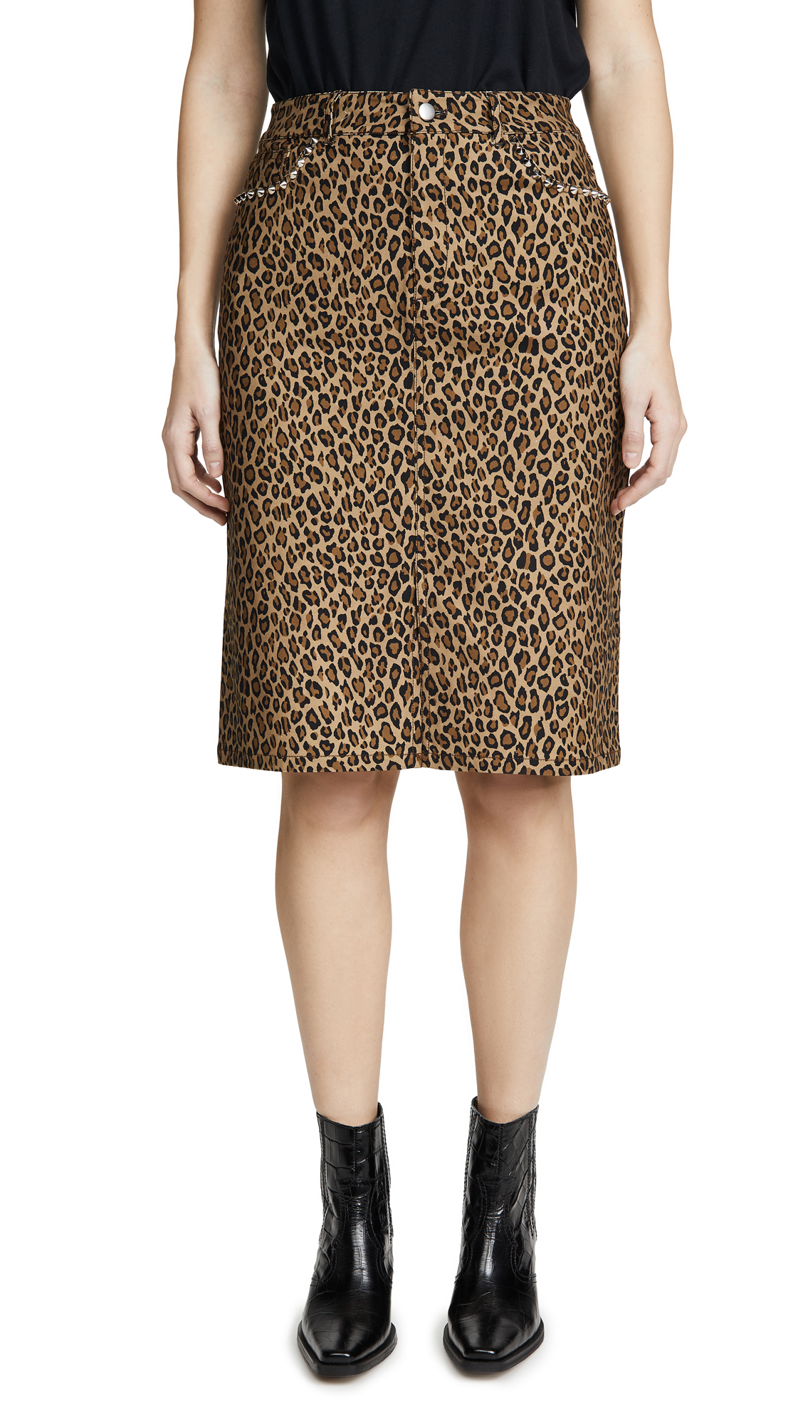 Buy LES REVERIES online - photo of LES REVERIES Leopard Pencil Skirt