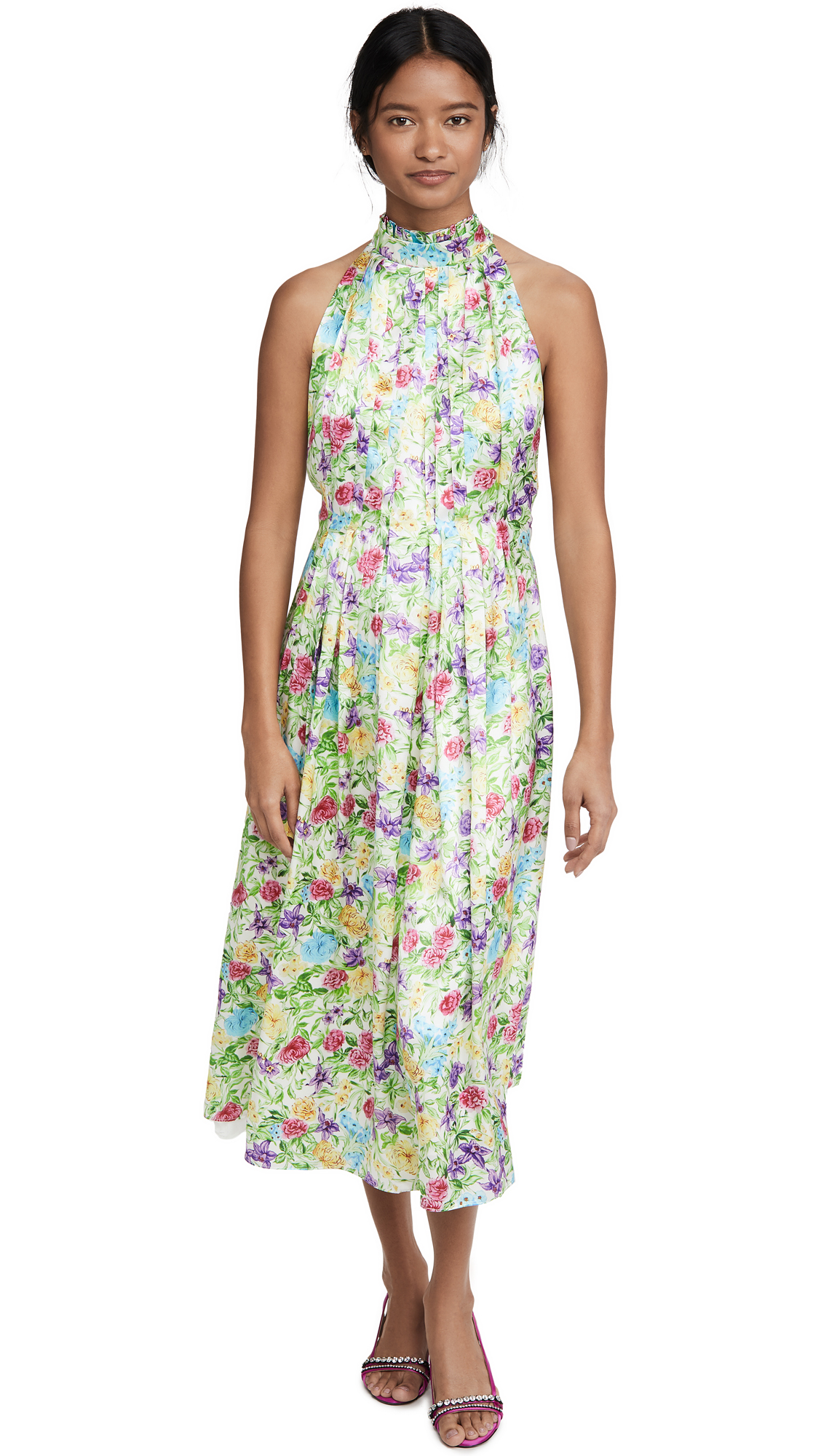 LES REVERIES Pleated Pussy Bow Maxi Dress - 70% Off Sale