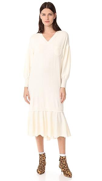 Leur Logette Cariaggi Frill Hem Dress In White