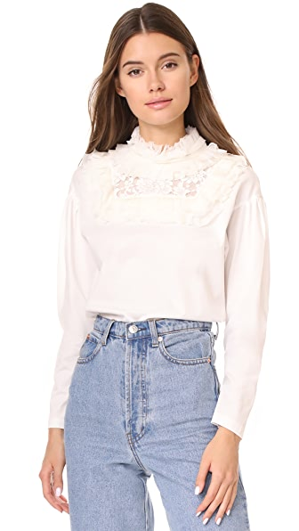 Leur Logette her selfservice Frill Collar Top - Off White