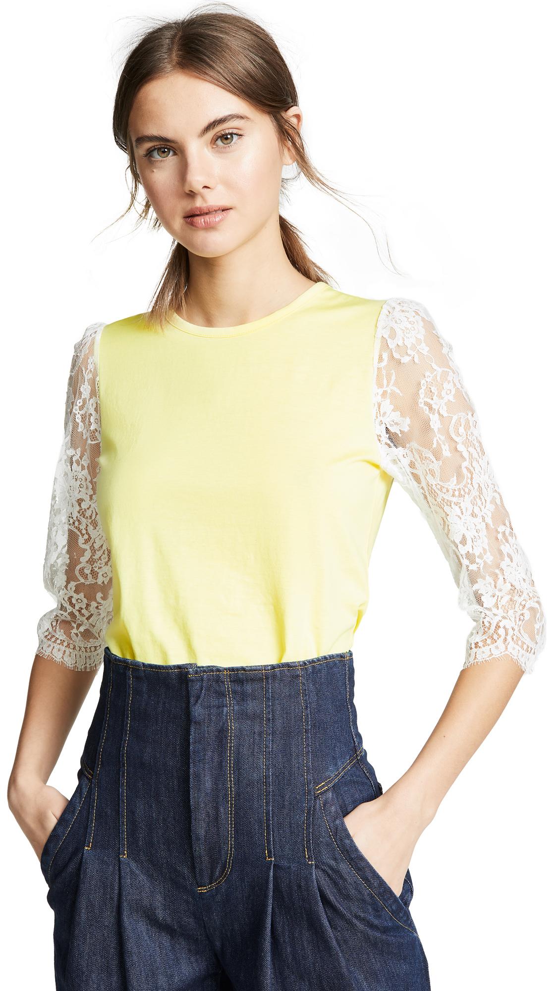 Leur Logette Lace Sleeve Top - Yellow