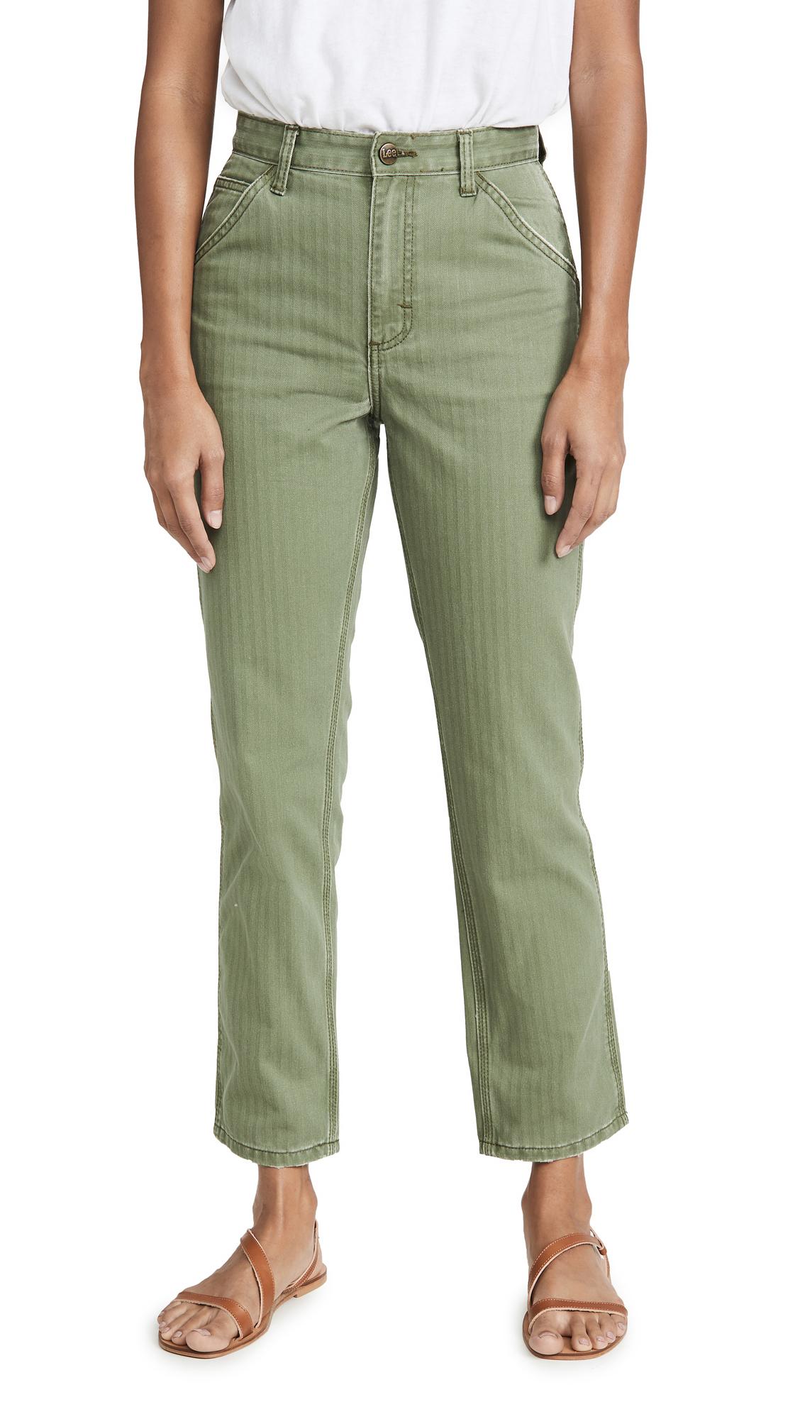 Lee Vintage Modern High Rise Dungaree Ankle Jeans - Vintage Olive Herringbone