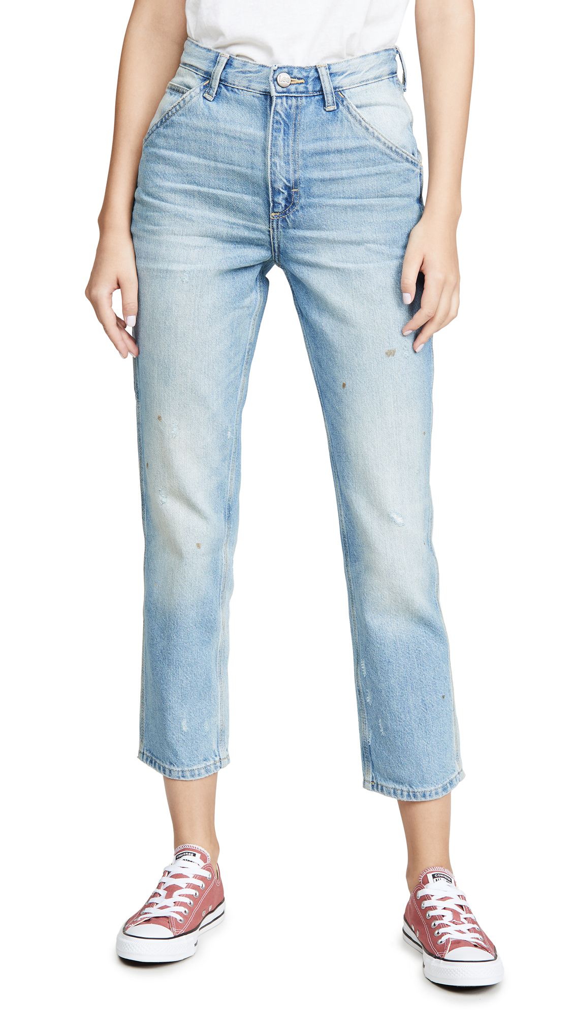 Lee Vintage Modern High Rise Dungaree Ankle Jeans - Authentic Fade