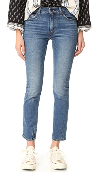 Levi's 505 C Cropped Slim Straight Jeans In Blue Cheer