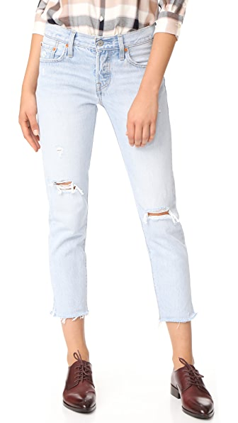 Levi's 501 Cropped Taper Jeans In Bowie Blue