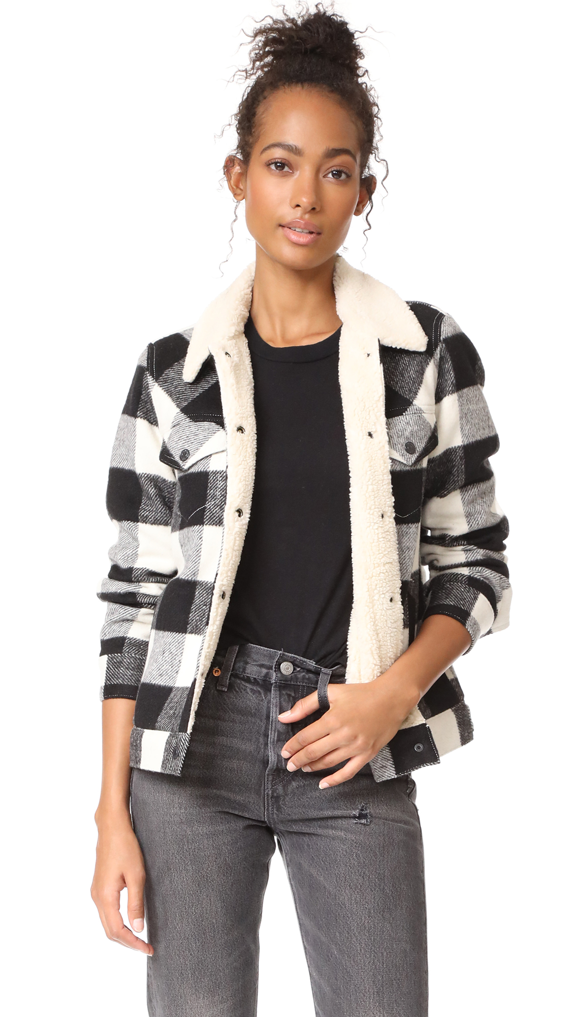 Levis Wool Boyfriend Trucker Jacket - Oatmeal/Black Plaid