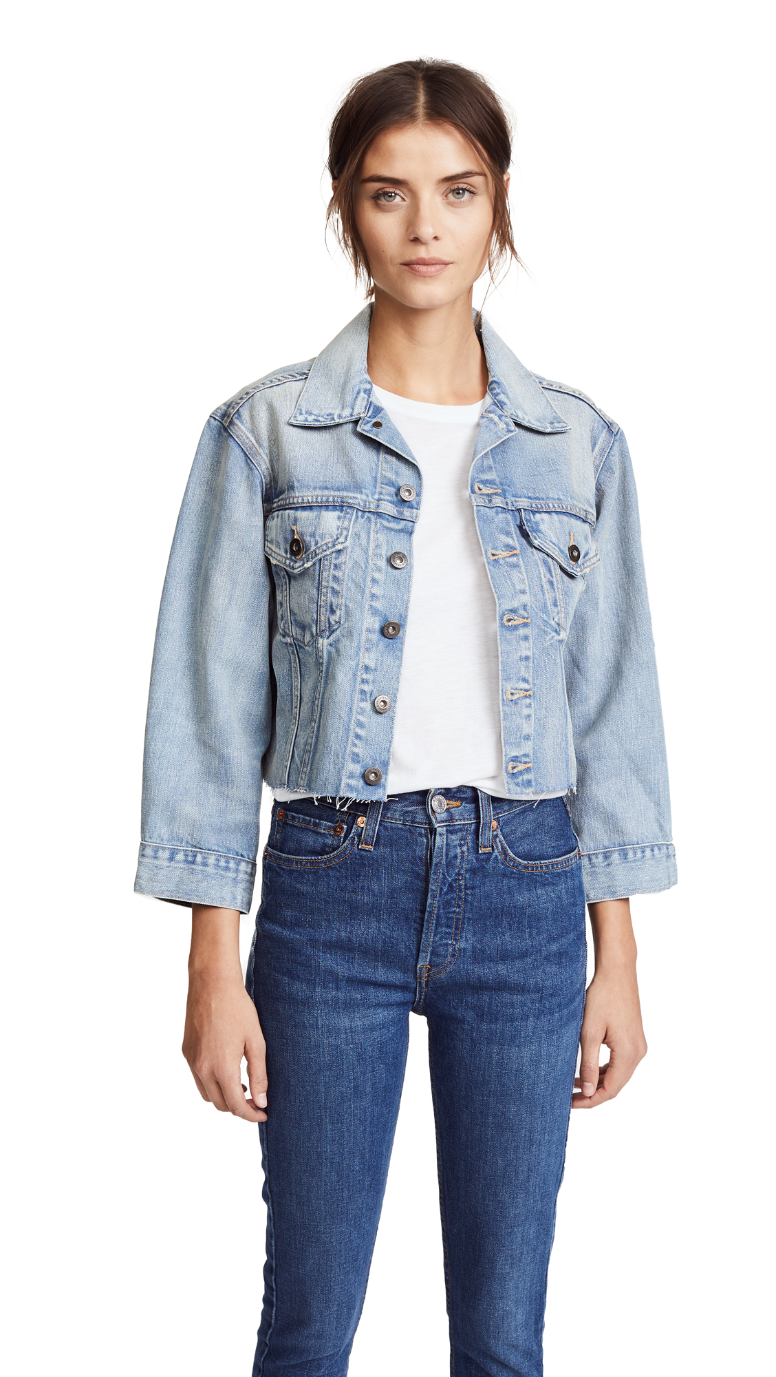 Levi's LMC x SHOPBOP Cropped BF Trucker Jacket In Salt Water Blue