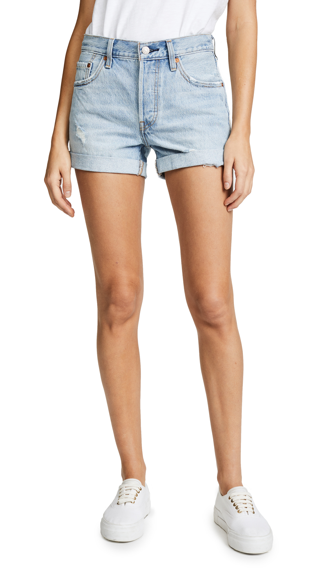 Levi's 501 Long Shorts In North Beach Blues