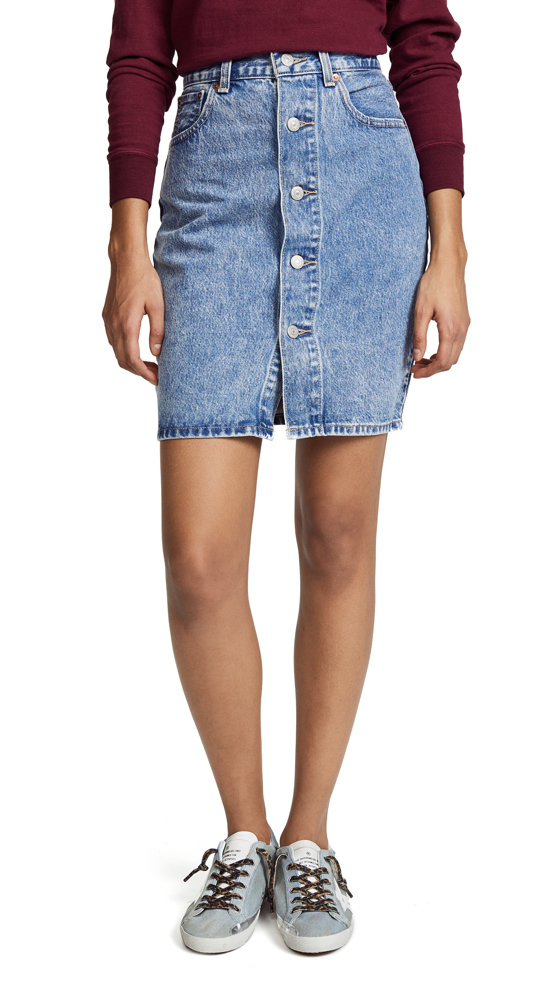 Levi's Button Thru Skirt In Heart Of Stone
