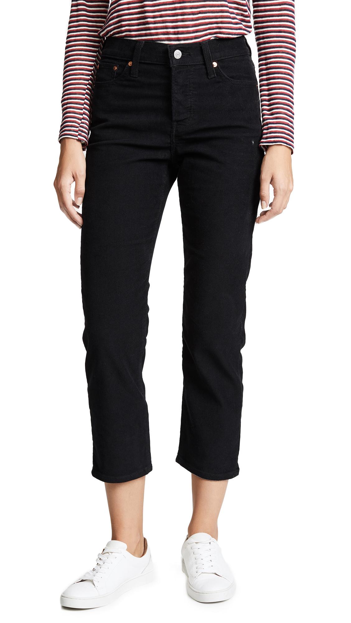 Wedgie Corduroy Straight Jeans, Black