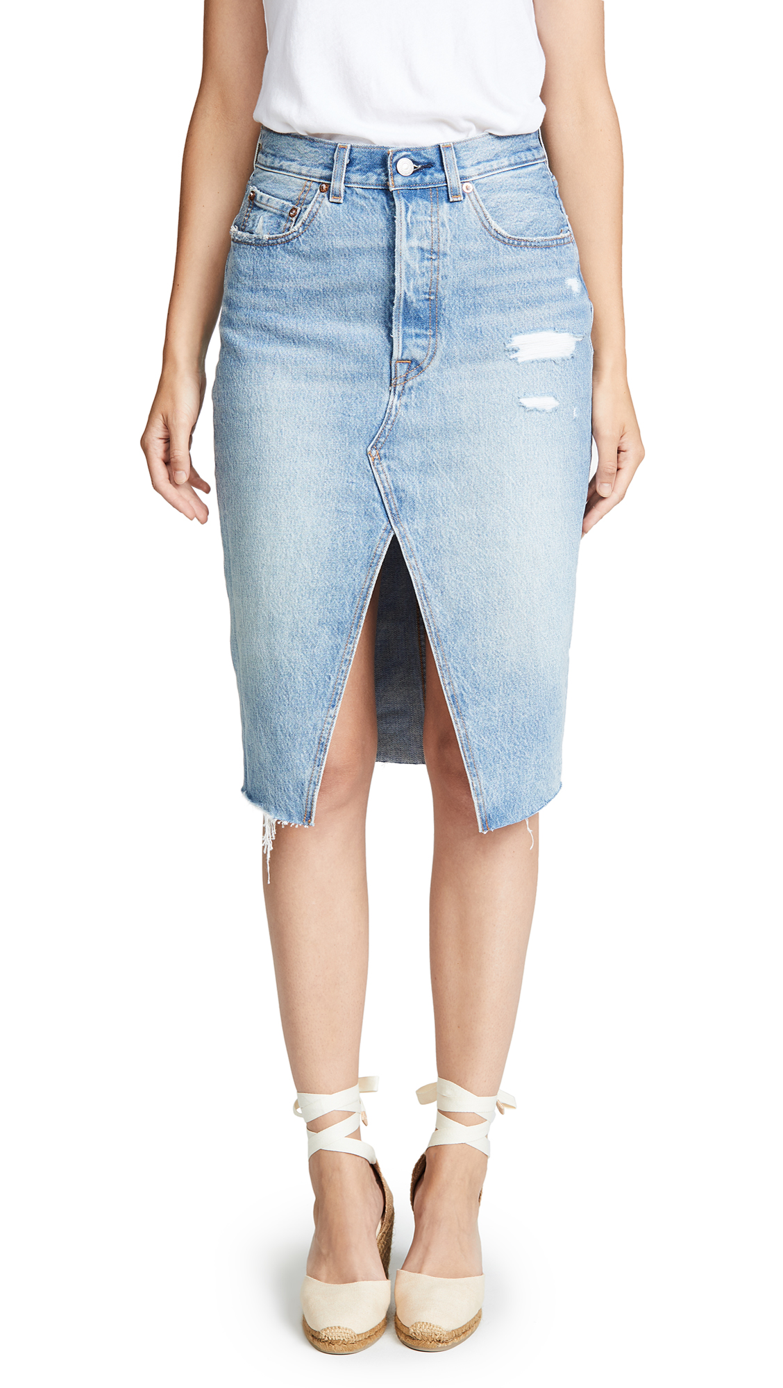 Levi's Deconstructed Long Skirt In Original Sinner