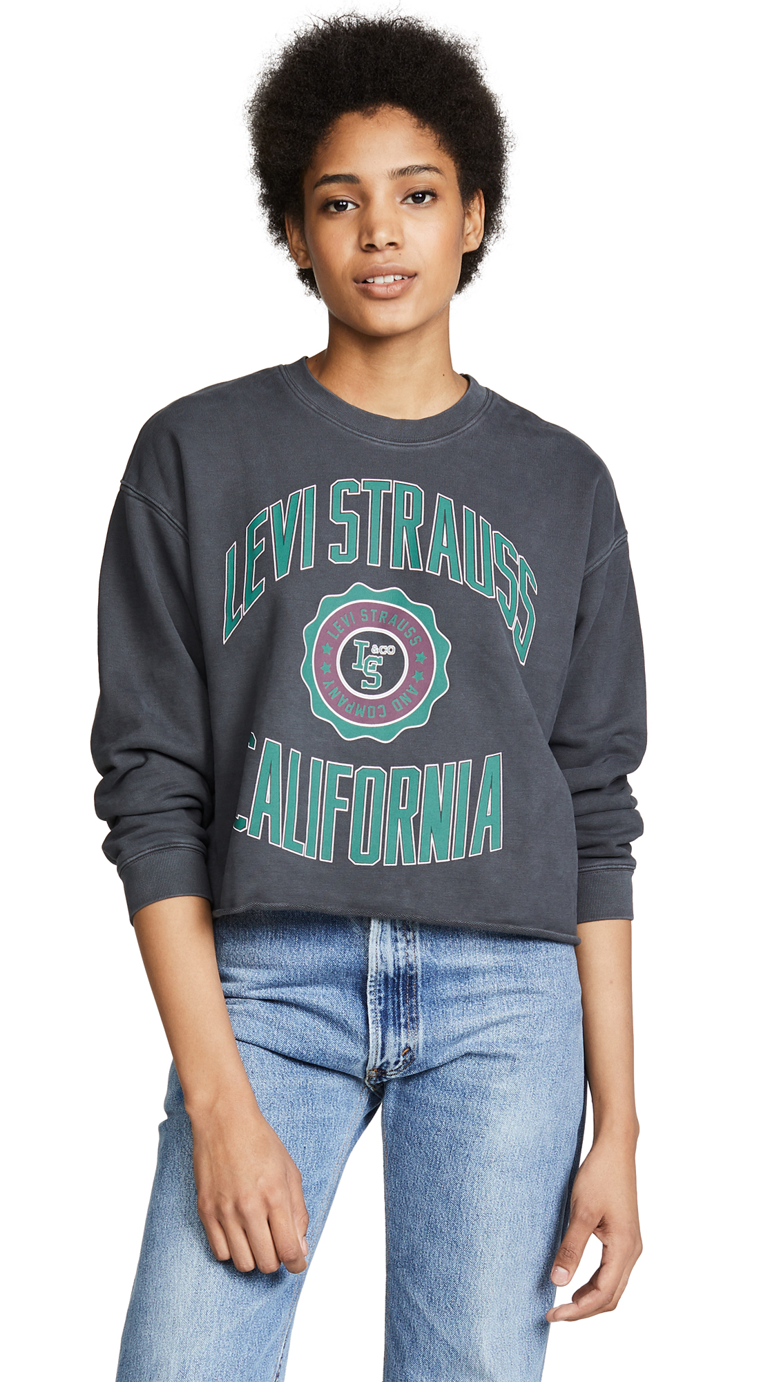 Levi's Graphic Raw Cut Sweatshirt In Varsity Caviar