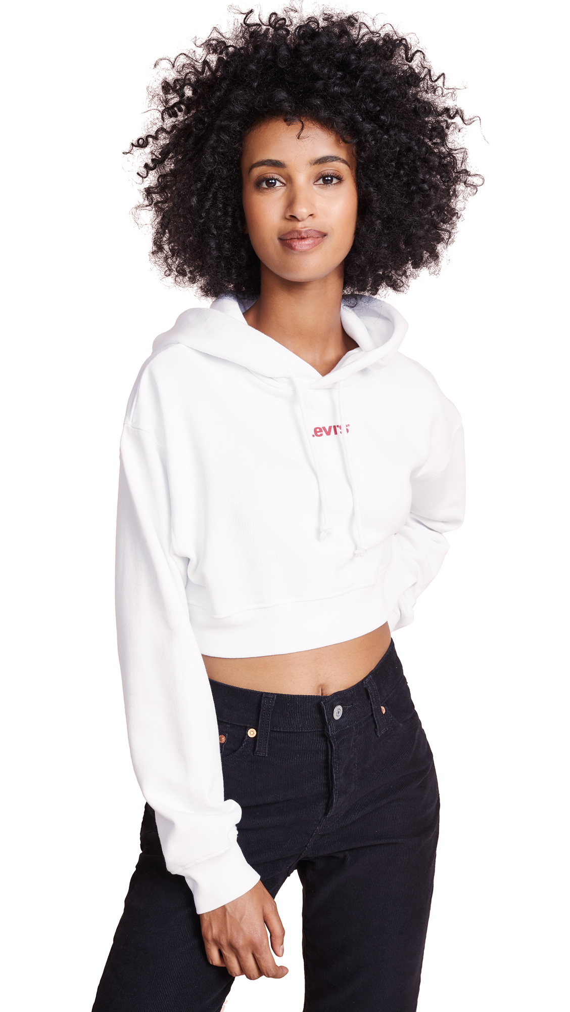 Levi's Baby Crop Hoodie In White