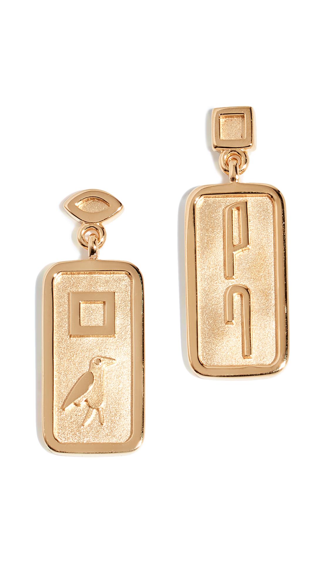 LUCY FOLK Le Memphis Earrings in Yellow Gold