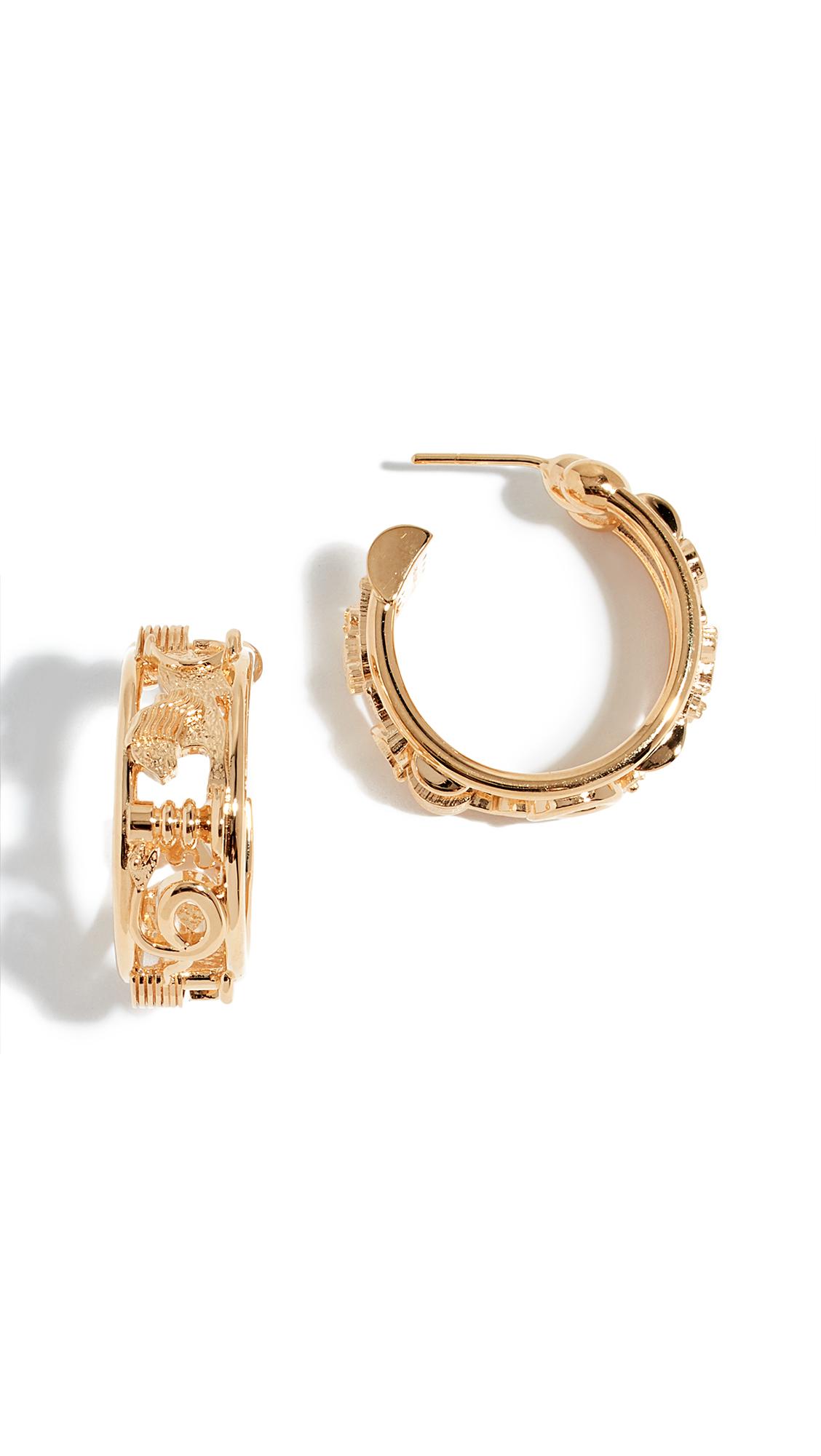 LUCY FOLK Sottsass Sphinx Hoop Earrings in Yellow Gold