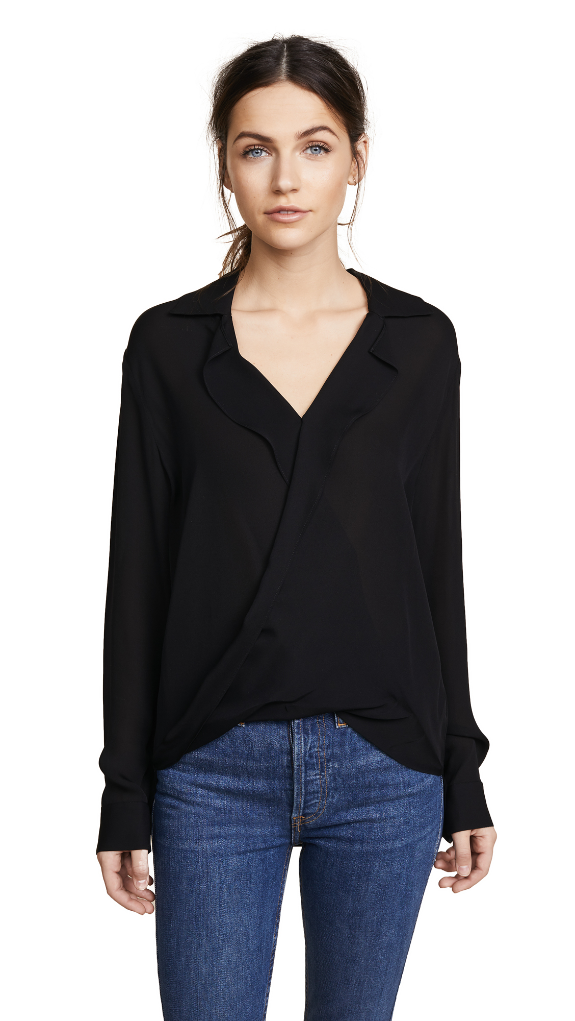 Buy L'AGENCE online - photo of L'AGENCE Rita Drape Front Blouse