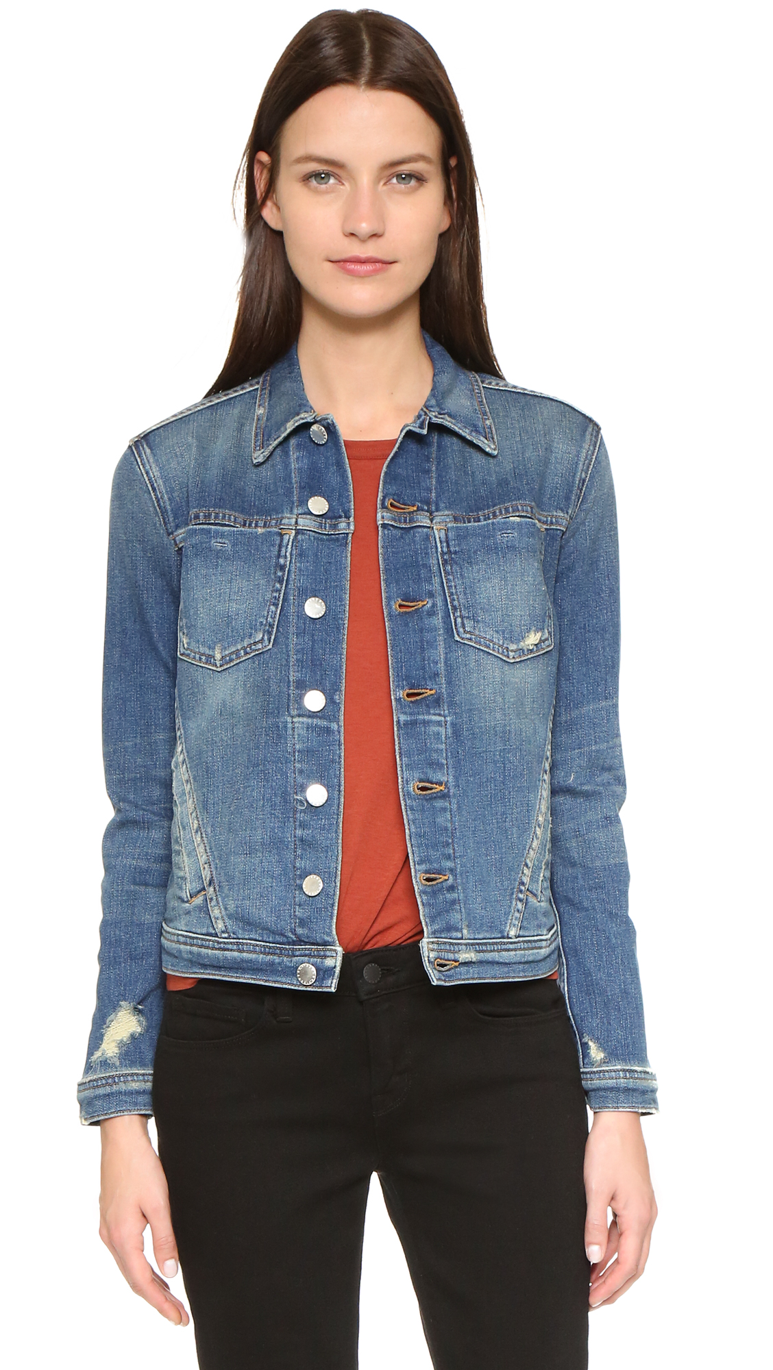 LAGENCE Celine Slim Fit Distressed Jacket - Authentique Distressed
