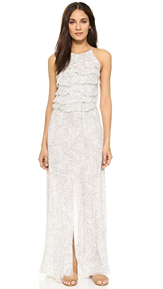 L'Agence Adriana Ruffle Maxi Dress - Dove/Magnolia