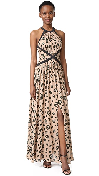 L'AGENCE Marvella Contrast Maxi Dress In Chanterelle Combo