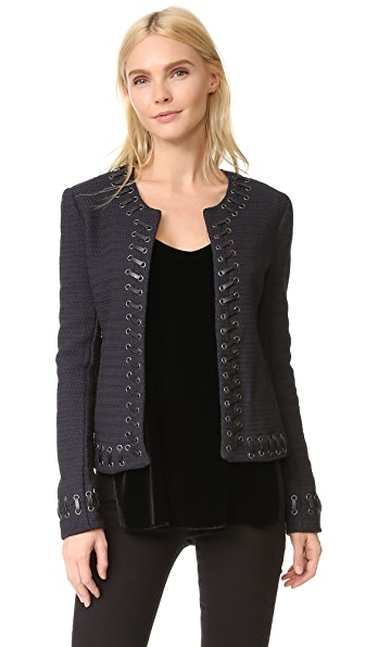 LAGENCE Devereaux Leather Whipstitch Tweed Jacket - Navy