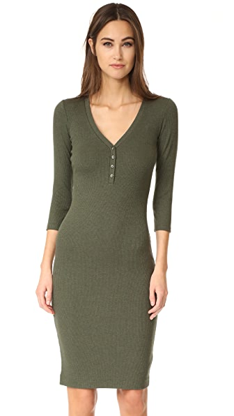L'AGENCE Aurora Long Sleeve Henley Dress