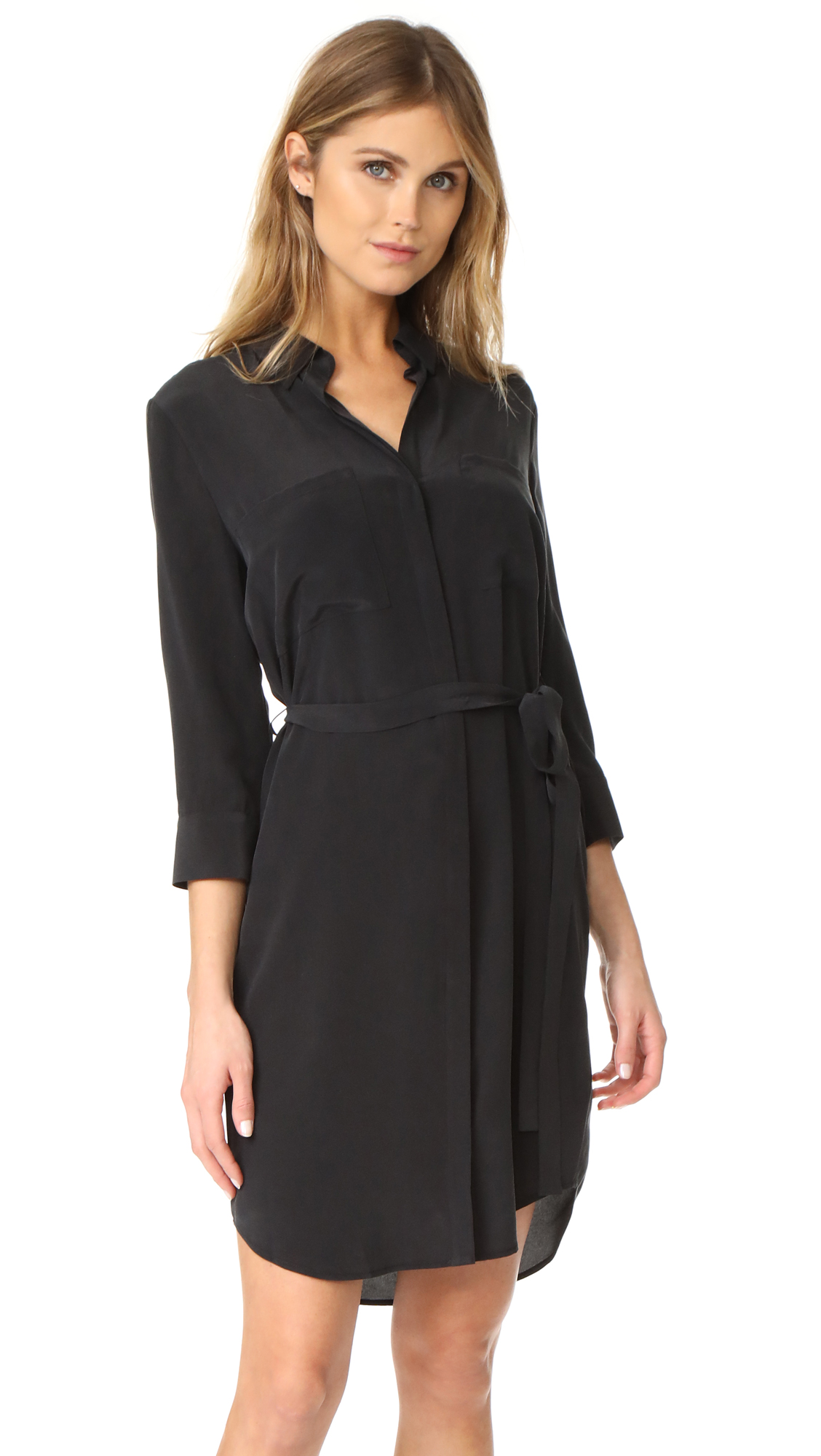 L'AGENCE Stella Short Shirtdress In Black
