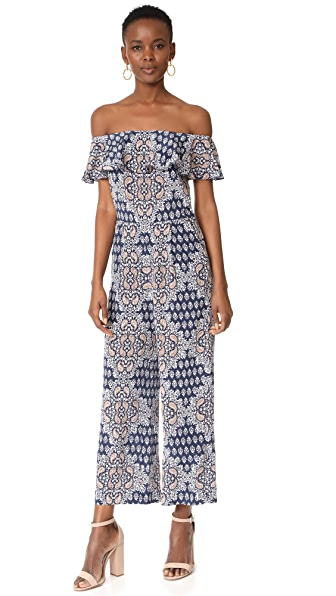 L'AGENCE Nicolle Ruffle Jumpsuit In Navy Multi