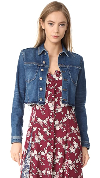 L'AGENCE Cropped Denim Jacket In Authentique