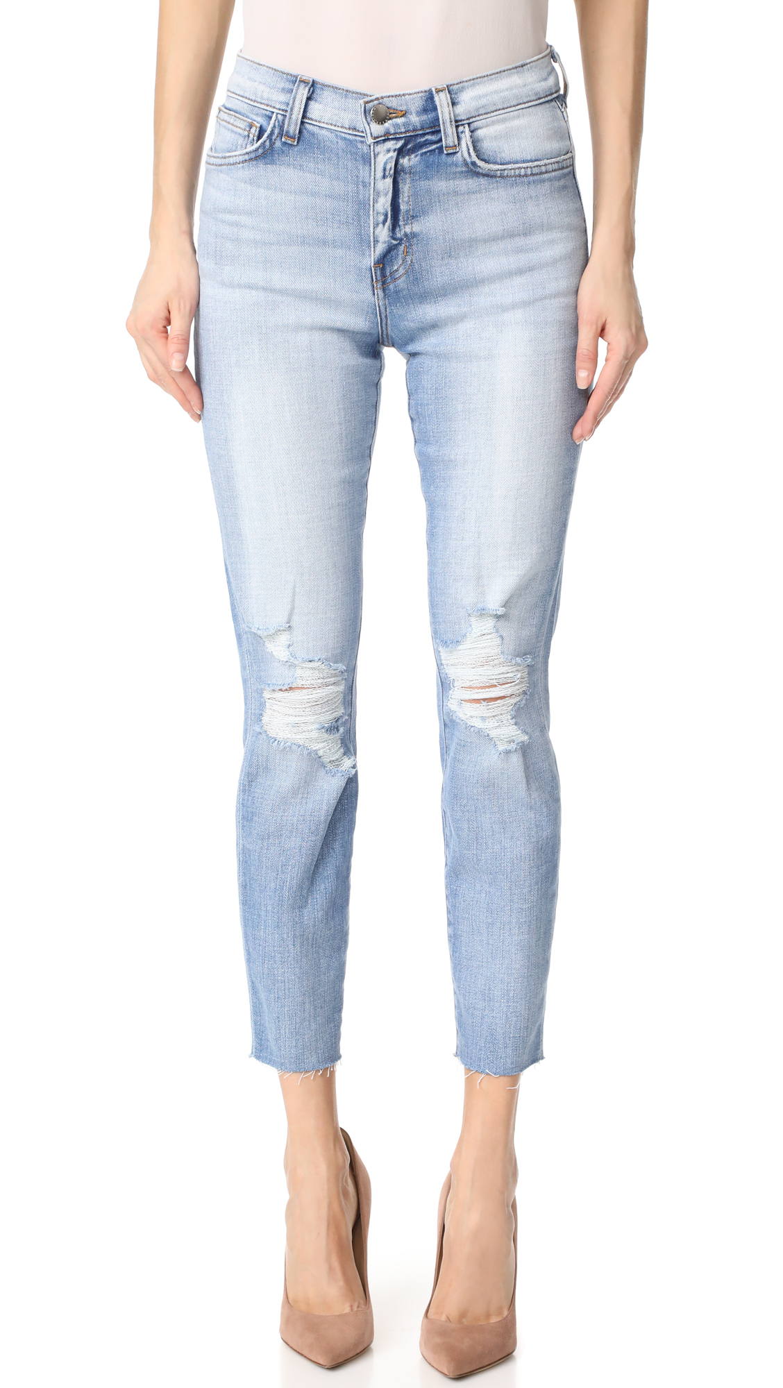 L'AGENCE El Matador French Slim Destructed Raw Hem Jeans