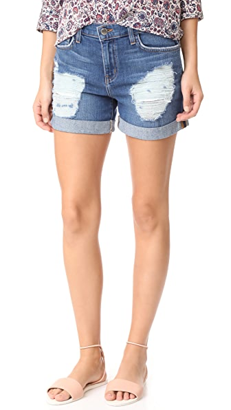 L'AGENCE Balboa Double Roll Shorts In Authentique