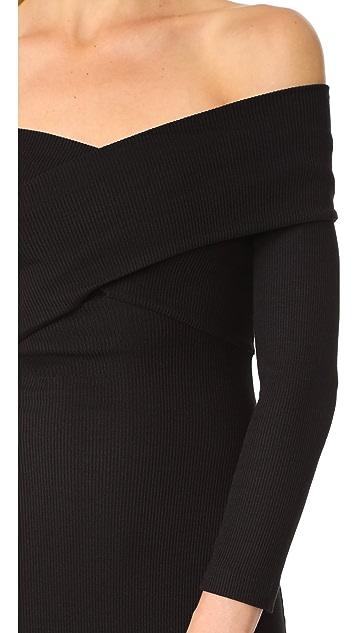 L'AGENCE Fantina Shoulder Wrap Dress