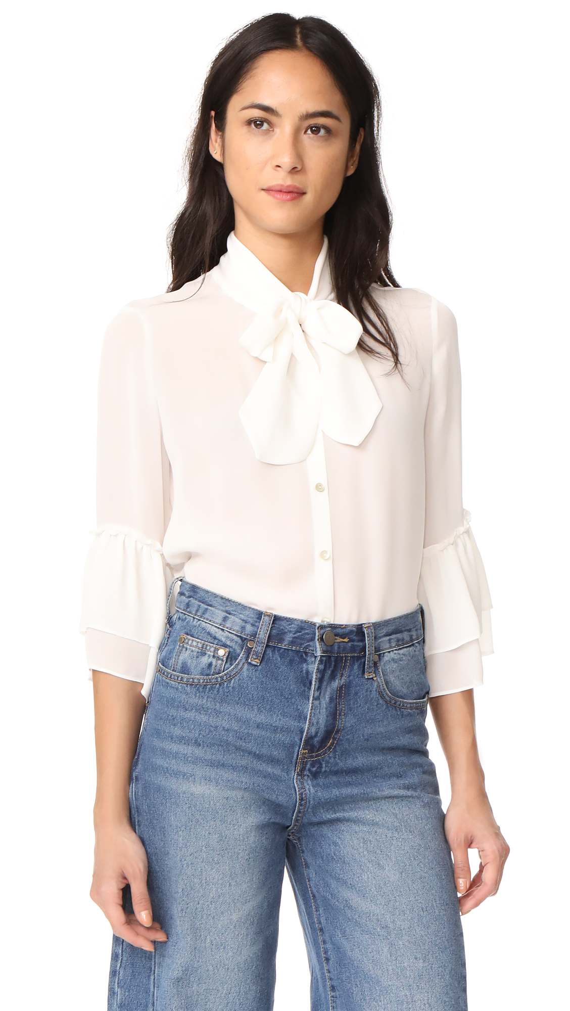 LAGENCE Desa Bow Tie Blouse - Ivory