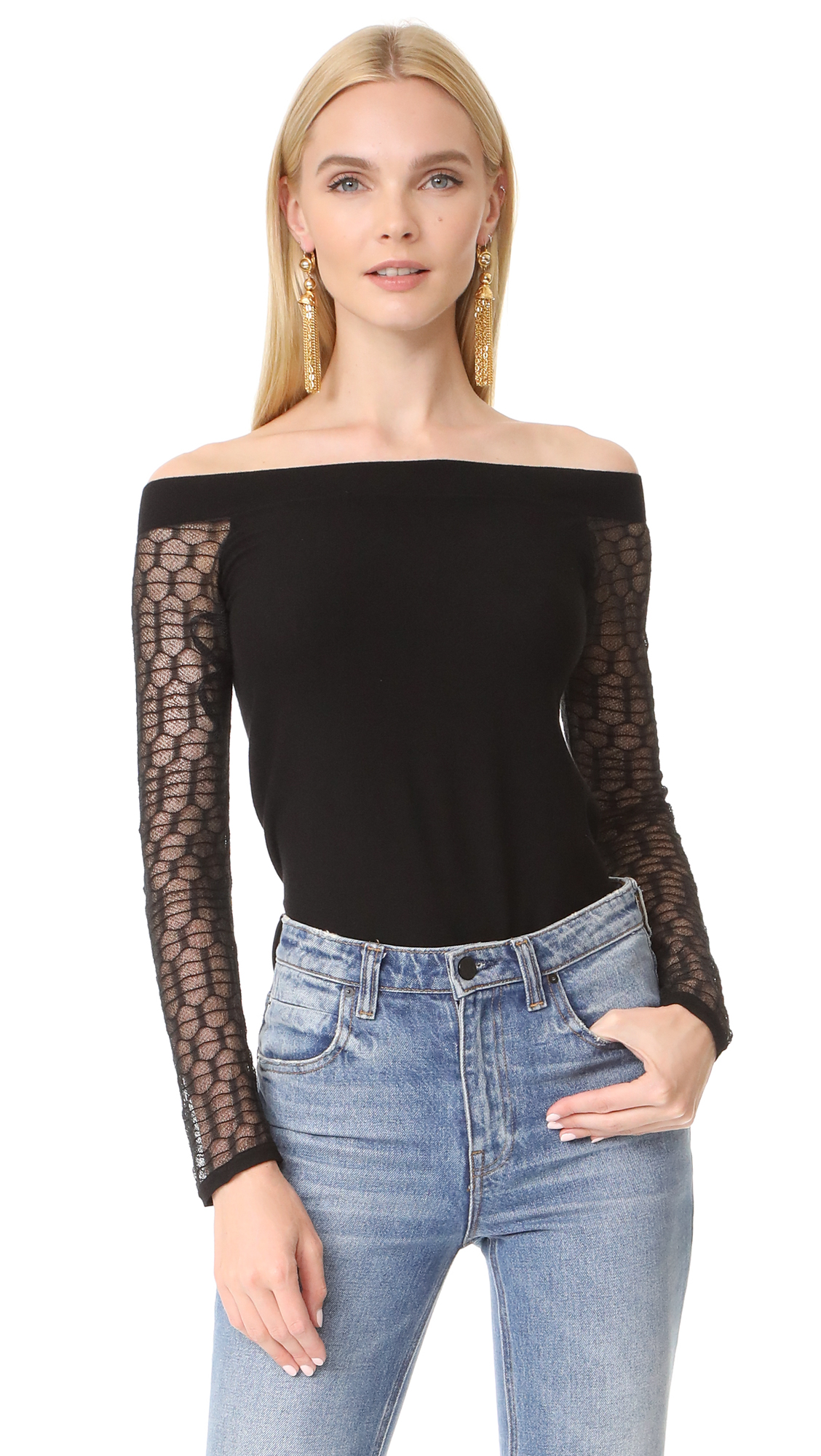 LAGENCE Amaya Off Shoulder Sweater - Black