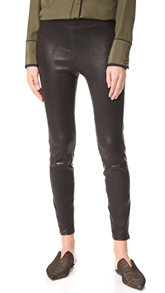 L'AGENCE Bijoux Leather Leggings In Noir