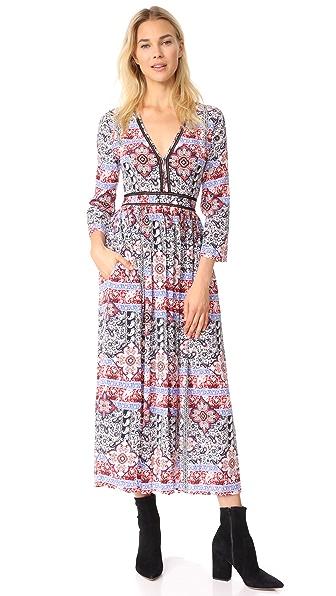 L'AGENCE Rosalia V Neck Maxi Dress In Ivory Multi