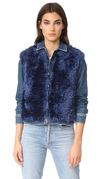 L'AGENCE Carolina Shearling Jacket In Authentique Distressed