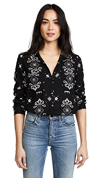 L'AGENCE Jacqueline Blouse In Black Multi