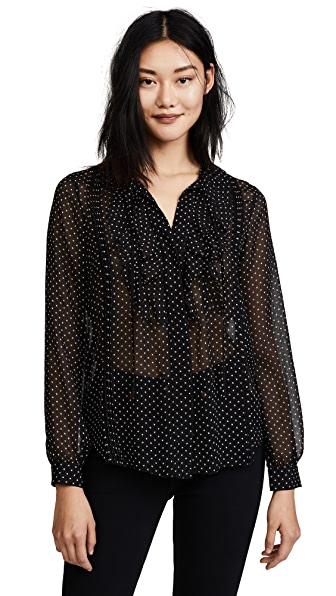 L'AGENCE Tabitha Pintuck Star Blouse In Black/Ivory