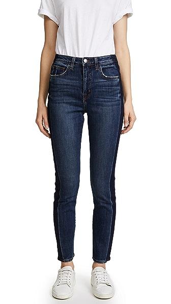 L'AGENCE High Ten Skinny Tuxedo Jeans In Classic Vintage Stripe