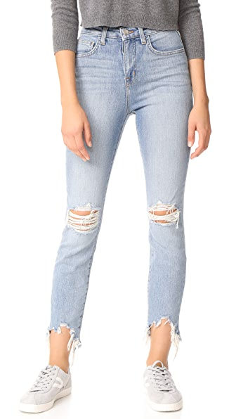 L'AGENCE Highline High Rise Skinny Jeans with Hem Destruction In Desert Light Destruct