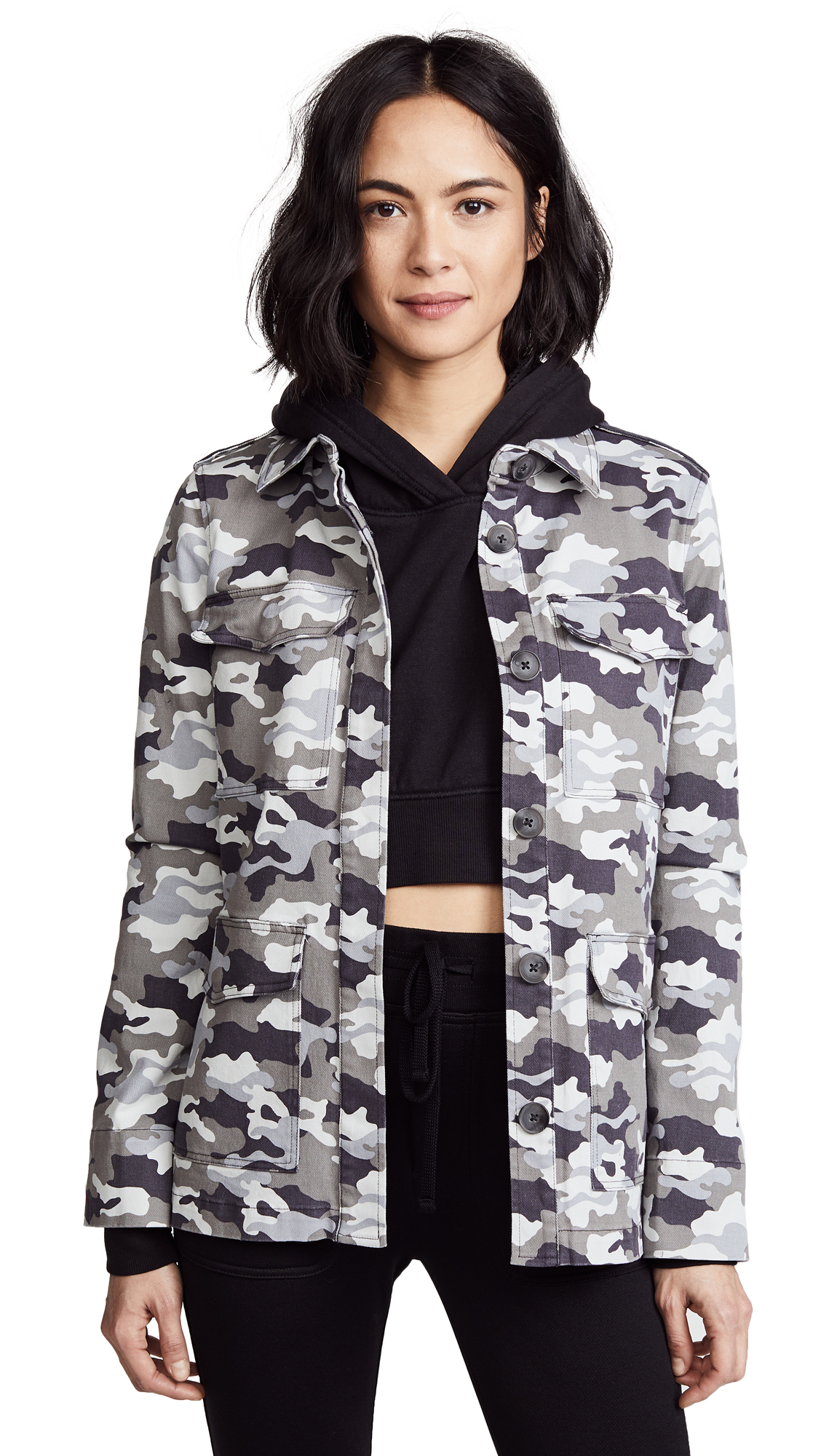 L'AGENCE Cromwell Military Jacket In Gunmetal Multi
