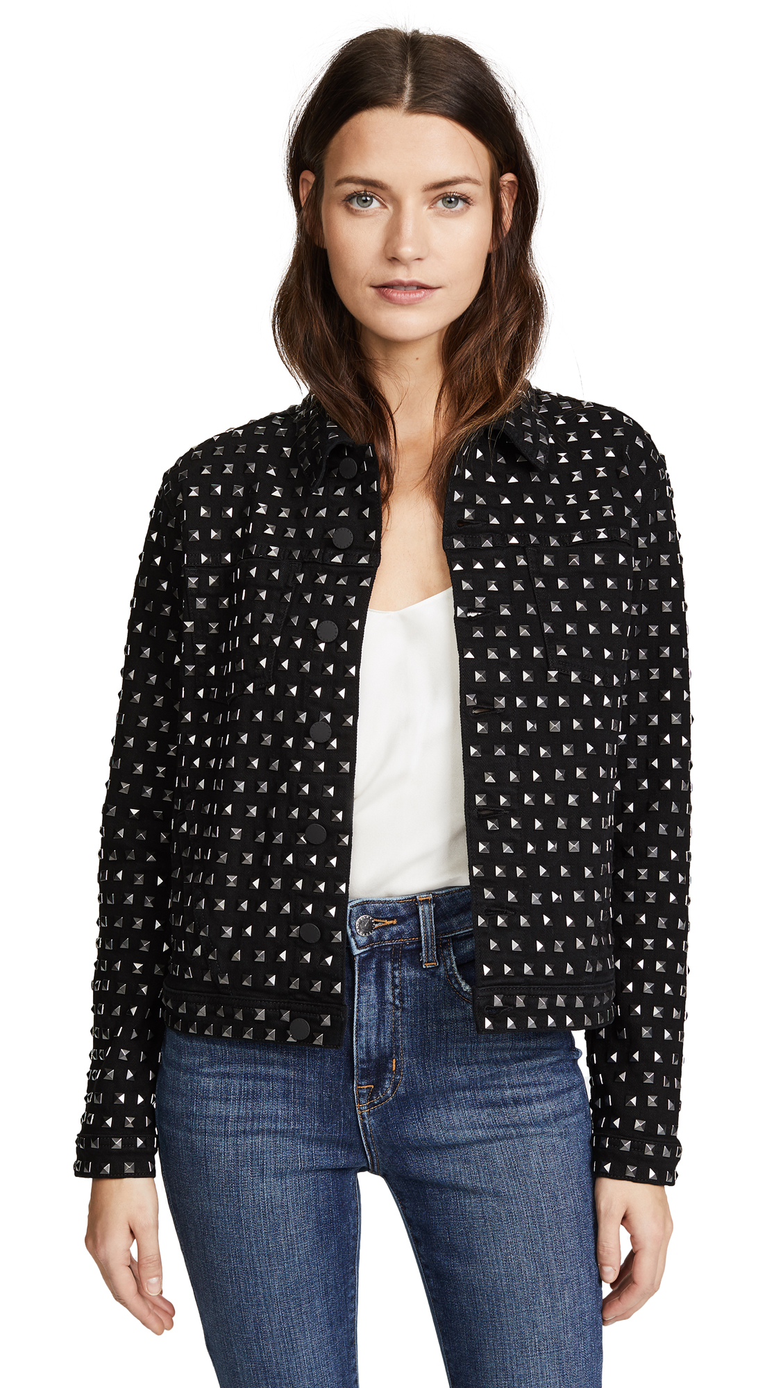 L'AGENCE Celine Studded Jacket In Saturated Black