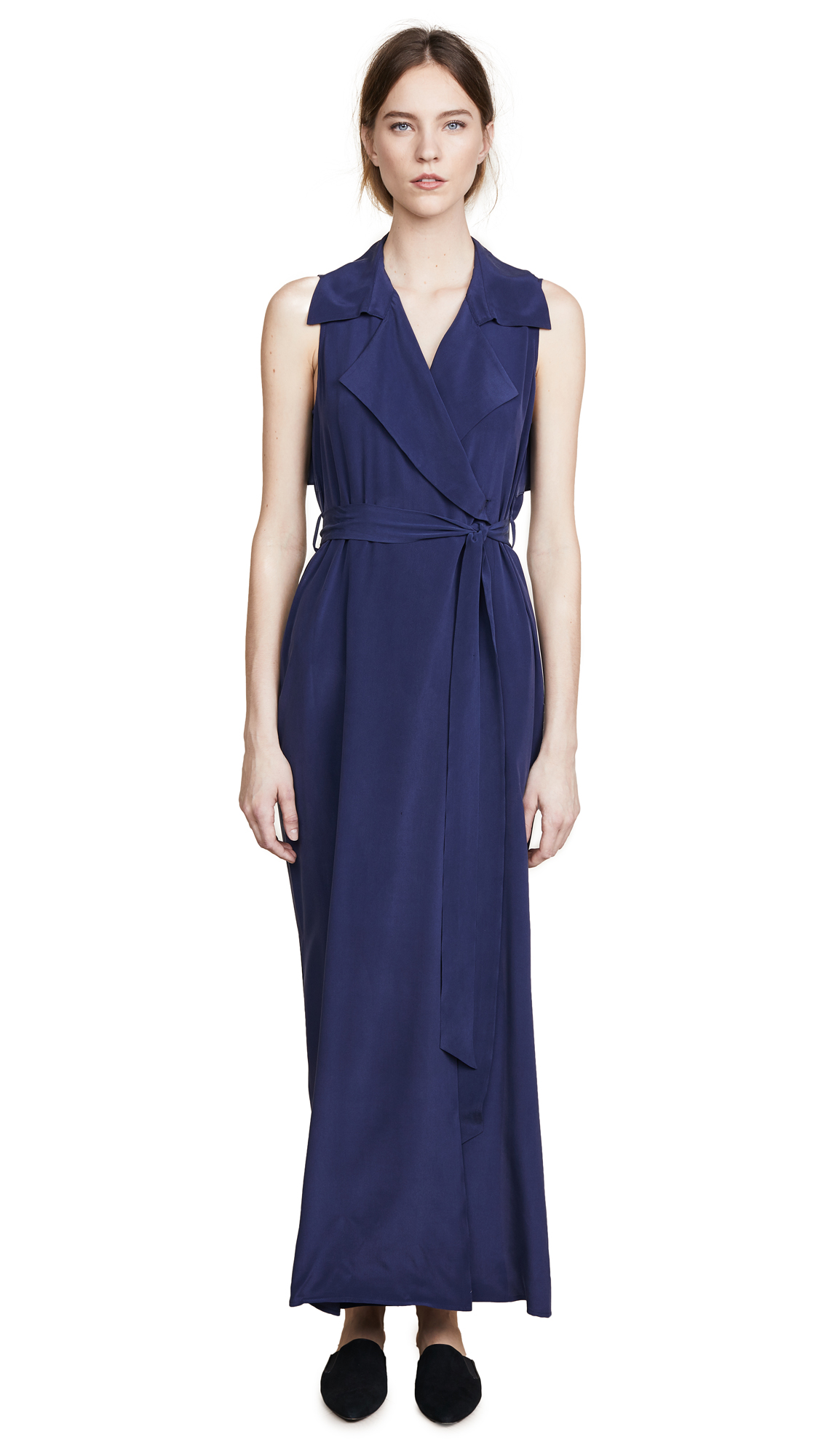 L'AGENCE Maya Wrap Dress In Navy