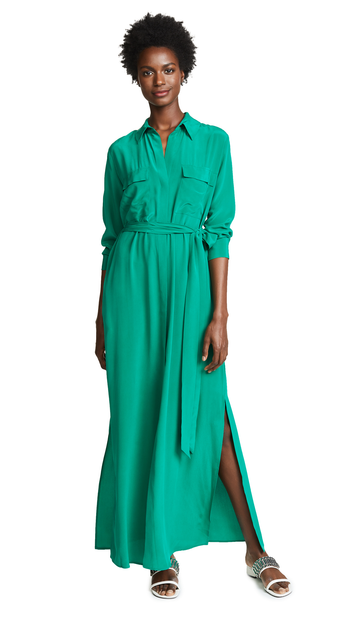 L'AGENCE Cameron Shirtdress In Emerald